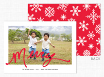 """Merry"" Flat Holiday Photo Cards"
